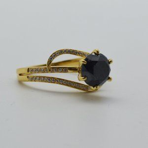 18k Yellow Gold Round Black Diamond Ring  Size:9